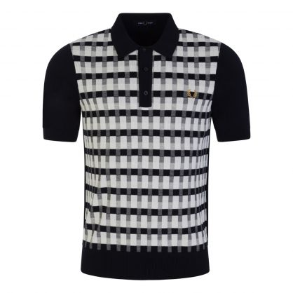 Navy/White Abstract Check Knitted Polo Shirt