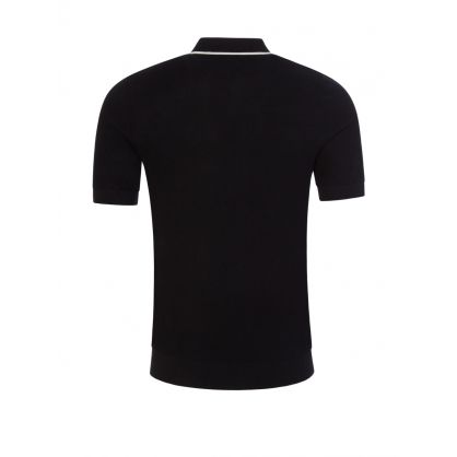 Black Knitted Tipped Collar Polo Shirt