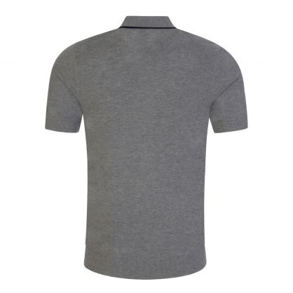 Grey Tipped Knitted Polo Shirt