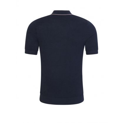 Dark Navy Tipped Knitted Polo Shirt