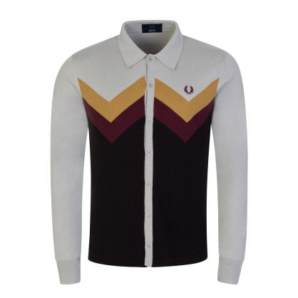 Fred Perry Reissue Grey Chevron Button-Through Knitted Shirt