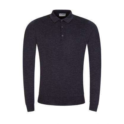 Grey Belper Knitted Polo Jumper