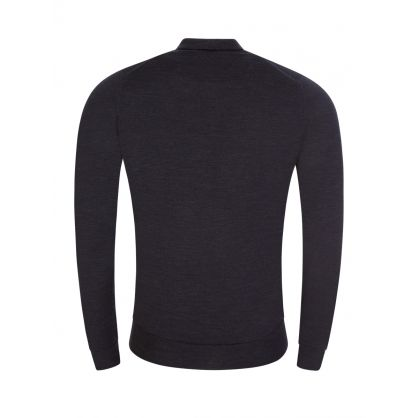 Grey Belper Knitted Polo Jumper