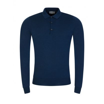 Blue Belper Knitted Polo Jumper