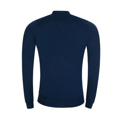 Blue Belper Knitted Polo Jumper