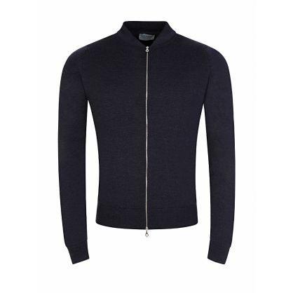 Grey Maclean Knitted Full-Zip Jacket