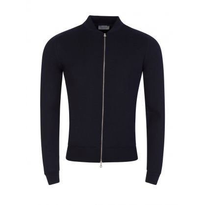 Navy Maclean Full Zip Knitted Jacket