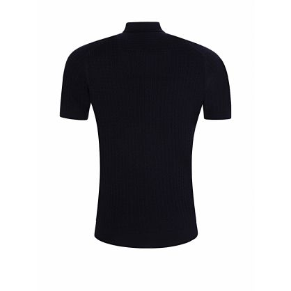 Navy Brushwood Texture Polo Shirt