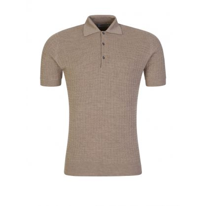 Brown Brushwood Textured Polo Shirt