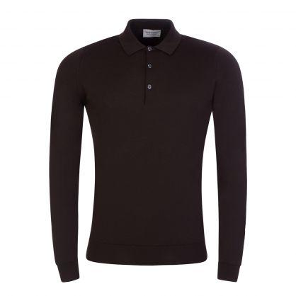 Dark Brown Belper Knitted Polo Jumper