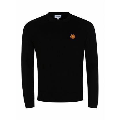 Black Wool Tiger Crest Jumper