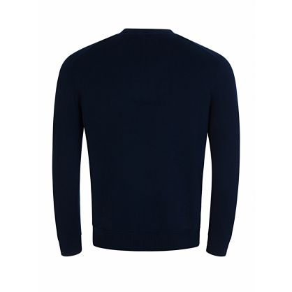 Navy Wool Chest Logo Jumper