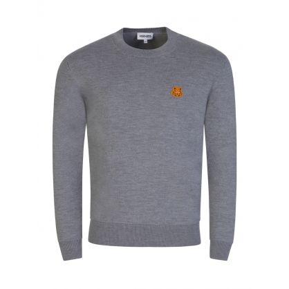 Grey Wool Tiger Crest Jumper