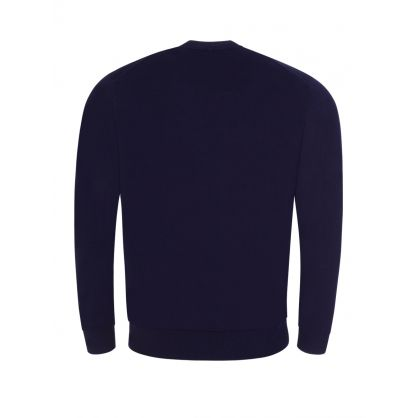 Navy Multicoloured Embroidered Logo Jumper