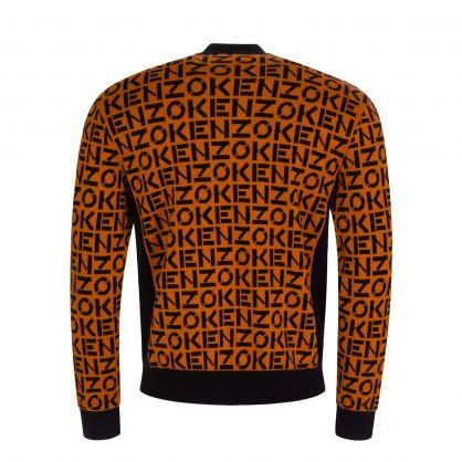 Orange/Black Knitted Zip-Through Jacket