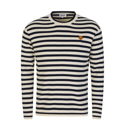Cream Tiger Patch Logo Striped Knitted Jumper
