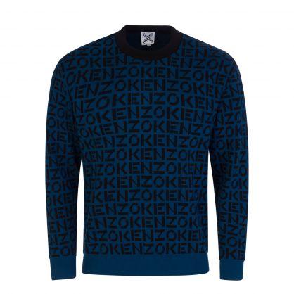 Blue Sport Monogram Knitted Jumper