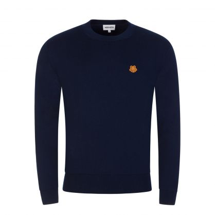 Navy Tiger Crest Classic Knitted Jumper