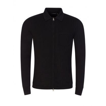 Black Nyle Merino Zip-Through Cardigan