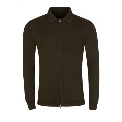 Green Nyle Merino Zip-Through Cardigan