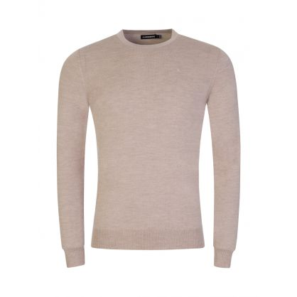 Beige Merino Wool Knitted Sweatshirt