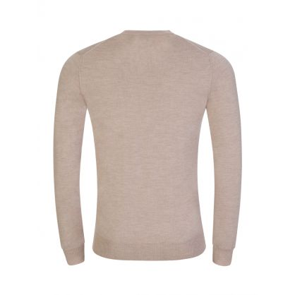 Beige Merino Wool Knitted Sweatshirt