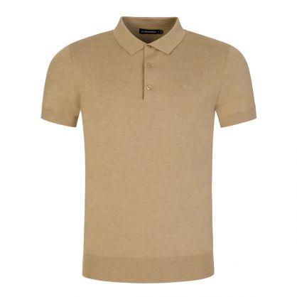 Light Beige Ridge Cotton Silk Polo Shirt