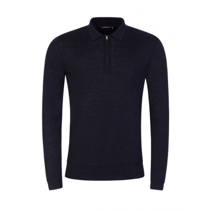 Navy Nev 1/4 Zip Knitted Polo