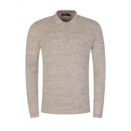 Beige Nev 1/4 Zip Knitted Polo