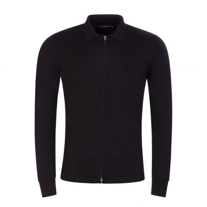 Black/Black Nyle Merino Zip-Through Cardigan
