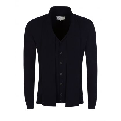 Navy Buttoned Wool Pullover