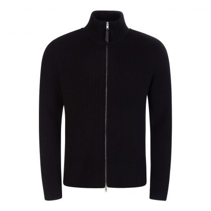 Black Zip-Through Knitted Jumper