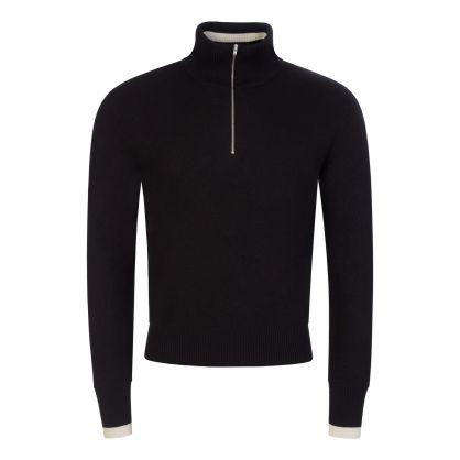 Black 1/4-Zip Knit Pullover