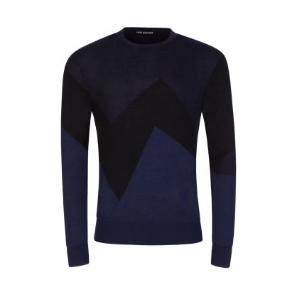 Black/Navy Modernist Wool Silk Jumper