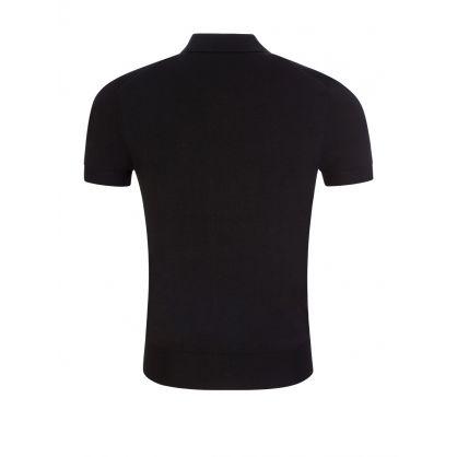 Black Knit Polo Shirt