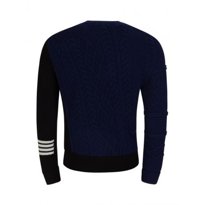 Navy Diagonal Cable Knit Jumper