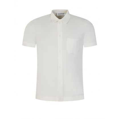 White Travel Knit Pocket Polo Shirt