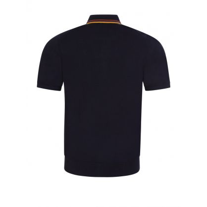 Navy Artist Stripe Knitted Polo Shirt