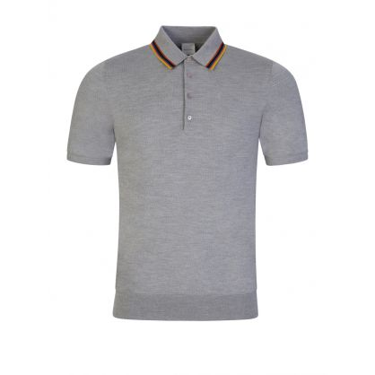 Grey Knitted Artist Stripe Polo Shirt