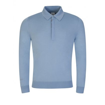 Blue Polo Collar Knitted Jumper