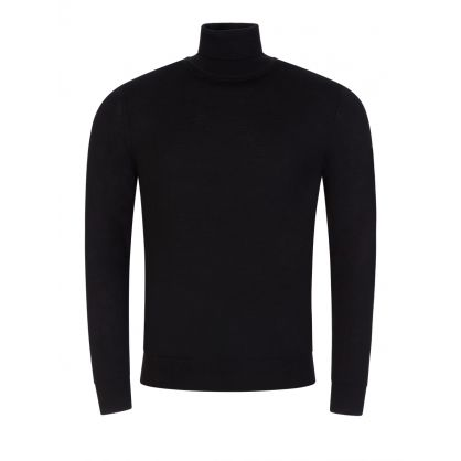 Black Pullover Roll Neck Knitted Jumper