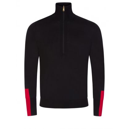 Black Contrast Cuff 1/2 Zip Jumper