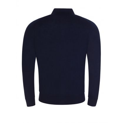 Dark Navy Knitted Button-Up Polo Shirt
