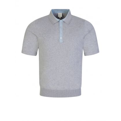 Grey Knitted Polo Shirt