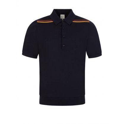 Dark Navy 'Artist Stripe' Knitted Polo Shirt