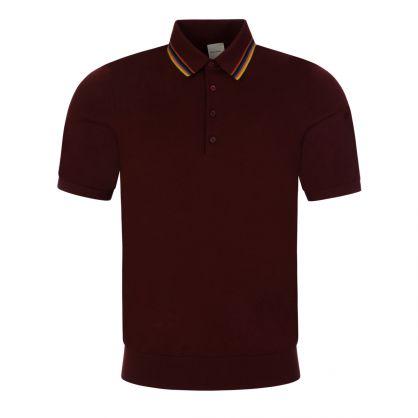 Burgundy Merino Wool Short-Sleeve Knit Polo Shirt
