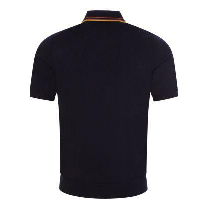 Navy Merino Wool Short-Sleeve Knit Polo Shirt