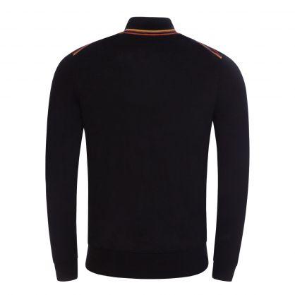 Black Merino Wool  Zip Neck Jumper
