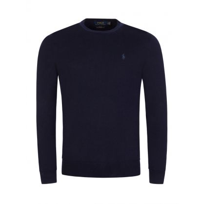 Navy Merino Wool Knitted Jumper