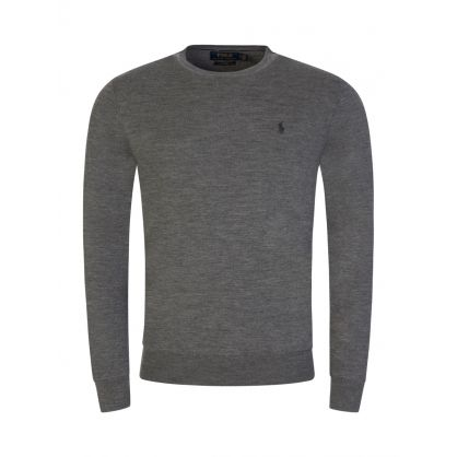 Grey Slim Fit Merino Wool Jumper